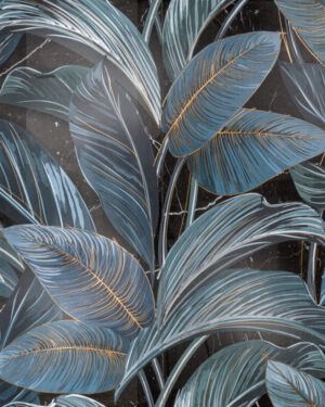Płytka dekoracyjna Serenissima Showall W06 Black Leaf NAT. RTT 120x120 cm