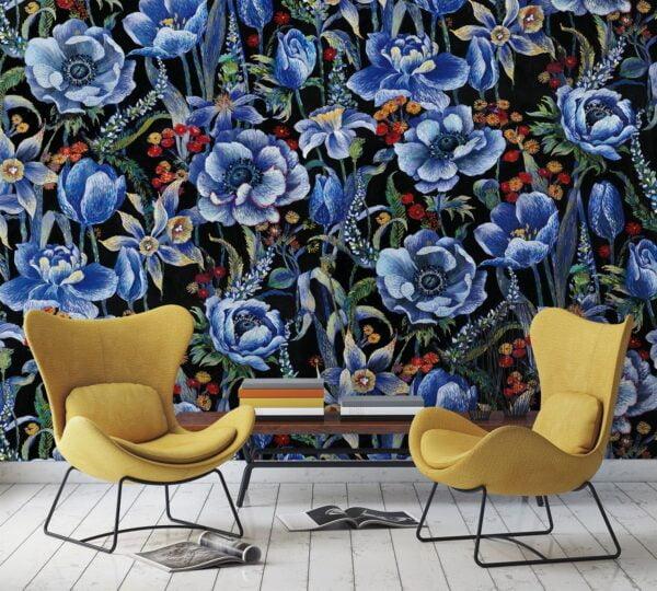 Tapeta Mural Marburg Smart Art 46720 kwiaty niebieskie