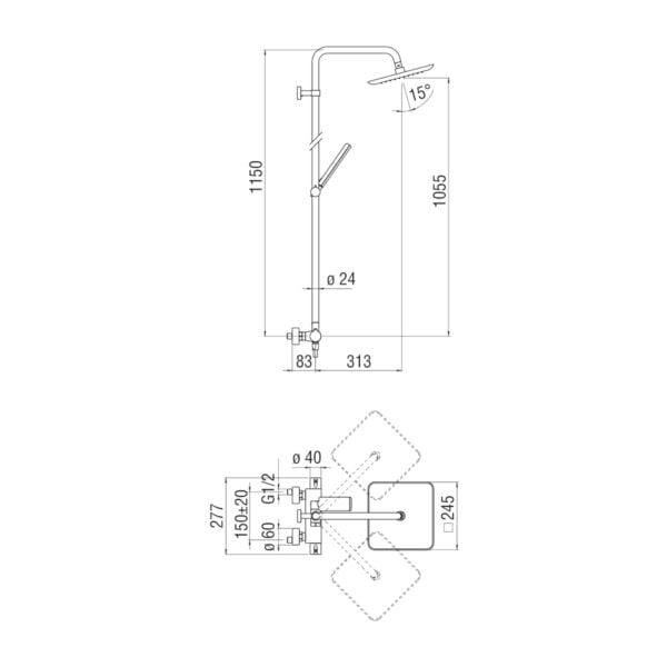 Nobili Acquaviva termostatyczna bateria kabinowa z deszczownią VV103030/31CR chrom