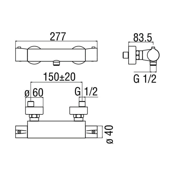 Nobili Acquaviva bateria kabinowa z termostatem VV103030CR chrom