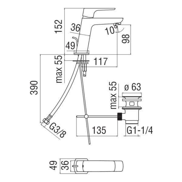 Nobili Acquaviva bateria umywalkowa z korkiem automatycznym VV103118/1CR chrom