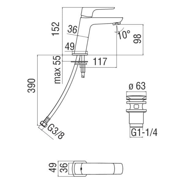 Nobili Acquaviva bateria umywalkowa z korkiem Klik-Klak VV103118/2CR chrom