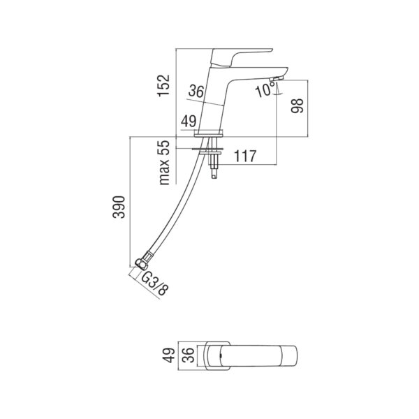 Nobili Acquaviva bateria umywalkowa bez korka W103118/3CR chrom
