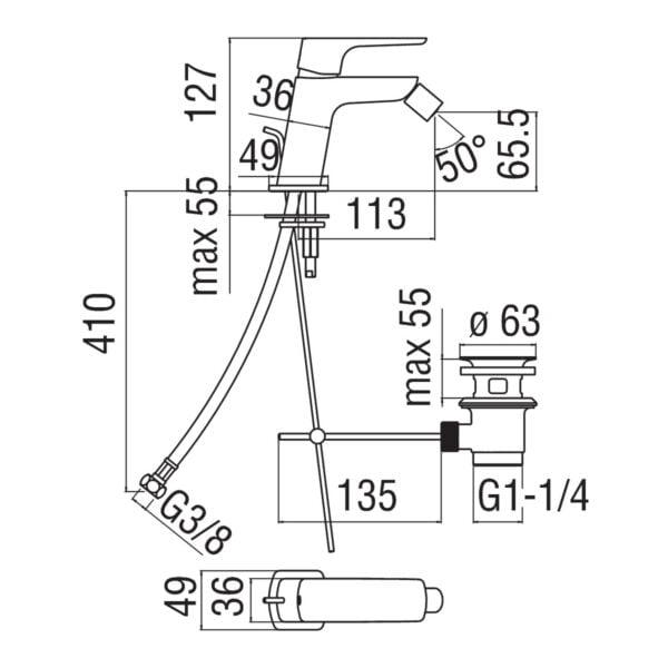 Nobili Acquaviva bateria bidetowa korkiem automatycznym W103119/1CR chrom