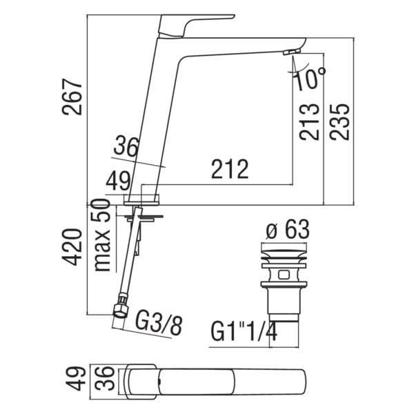 Nobili Acquaviva bateria umywalkowa wysoka z korkiem Klik-Klak W103128/2CR chrom