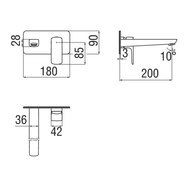 Nobili Acquaviva bateria umywalkowa podtynkowa VV103198/1CR + WE00198CR chrom