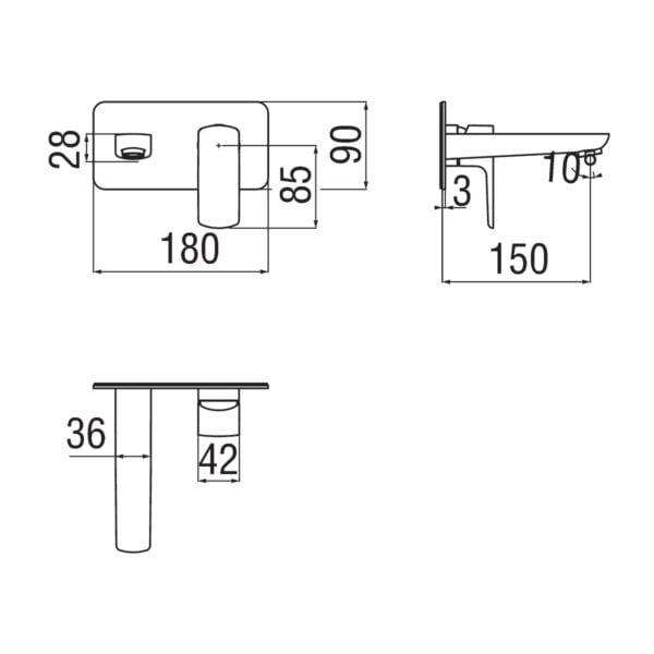 Nobili Acquaviva bateria umywalkowa podtynkowa VV103198CR + WE00198CR chrom