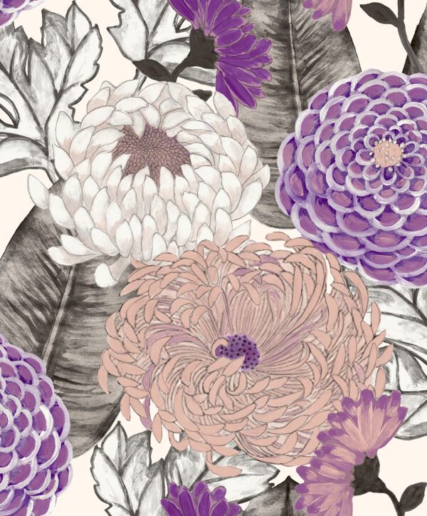 Tapeta Decoprint Breeze BR24033 Malowane Kwiaty Astry