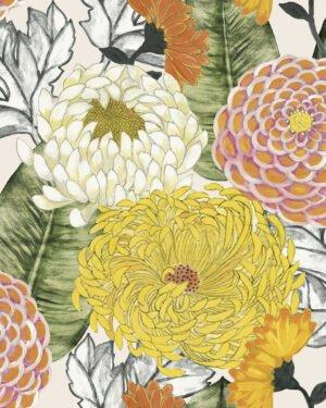 Tapeta Decoprint Breeze BR24030 Malowane Kwiaty Astry