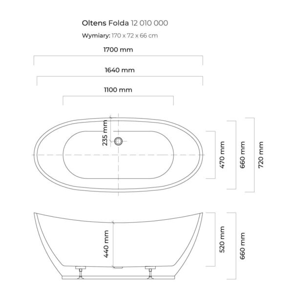 Wanna wolnostojąca Oltens Folda 12010000